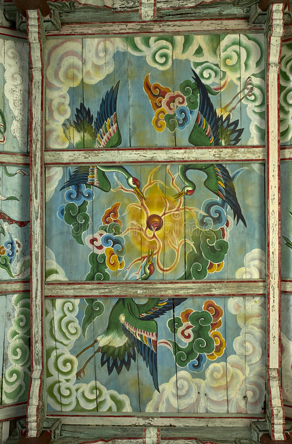 Dach, das Pohyon-Tempel Nordkorea malt stockbilder