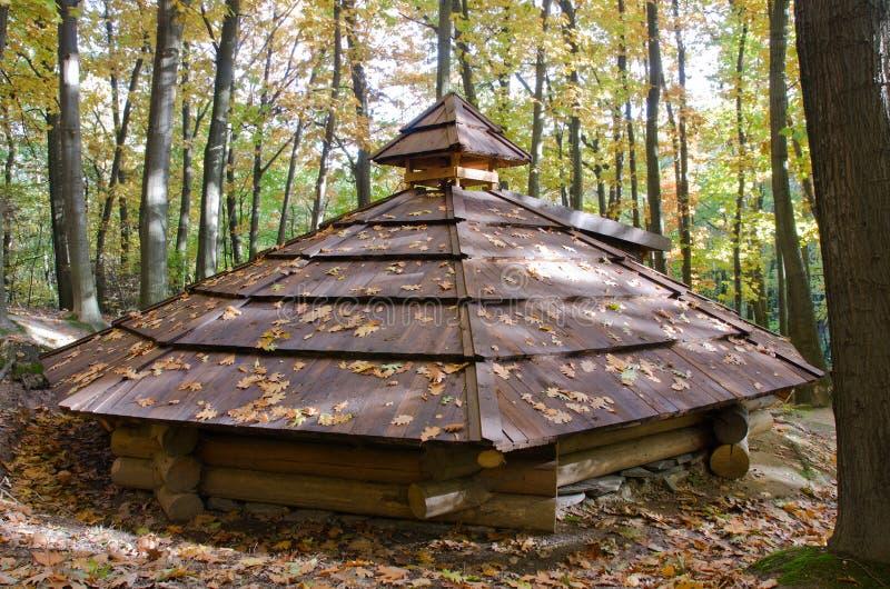 Dach der hölzernen provisorischer Unterkunft stockbild