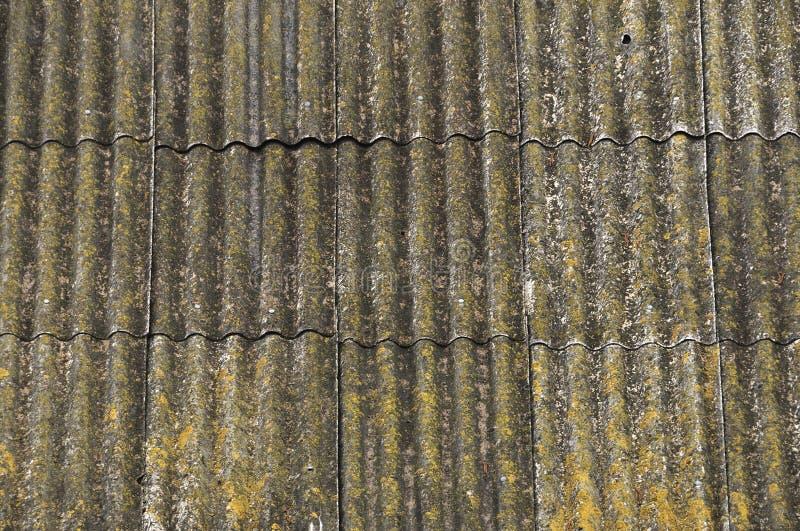 Dach dom na wsi, zakrywający z szarość łupkiem, w górę Stary dach zakrywający z łupkiem Zielony mech r między łupkiem obraz royalty free