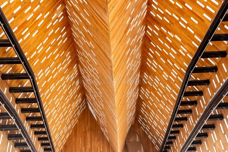 Dach from inside nowożytna Targowa sala w Gent w Belgia zdjęcia royalty free