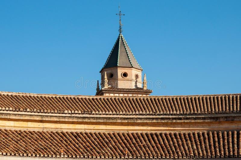 Dach katedra Granada w niebieskim niebie fotografia royalty free
