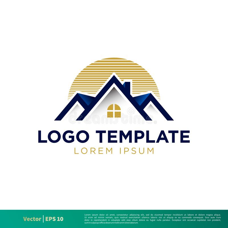 Dach-Logo, Real Estate-Ikonen-Vektor Logo Template Illustration Design Vektor ENV 10 lizenzfreie abbildung