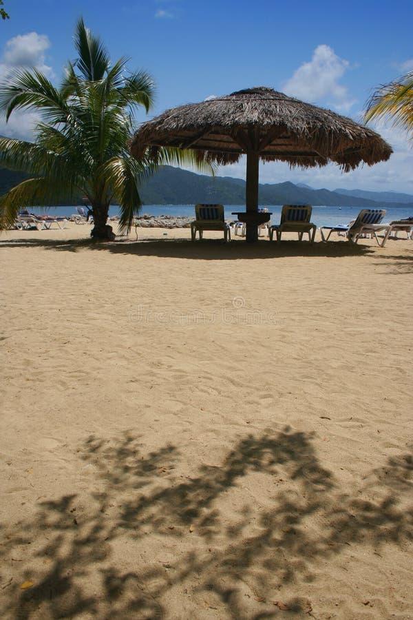 dach na plaży zbiegł strzechą parasolkę zdjęcie royalty free