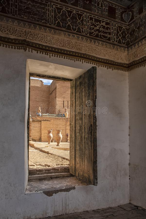 Dach tradycyjny riad w Tamesloht Maroko fotografia royalty free