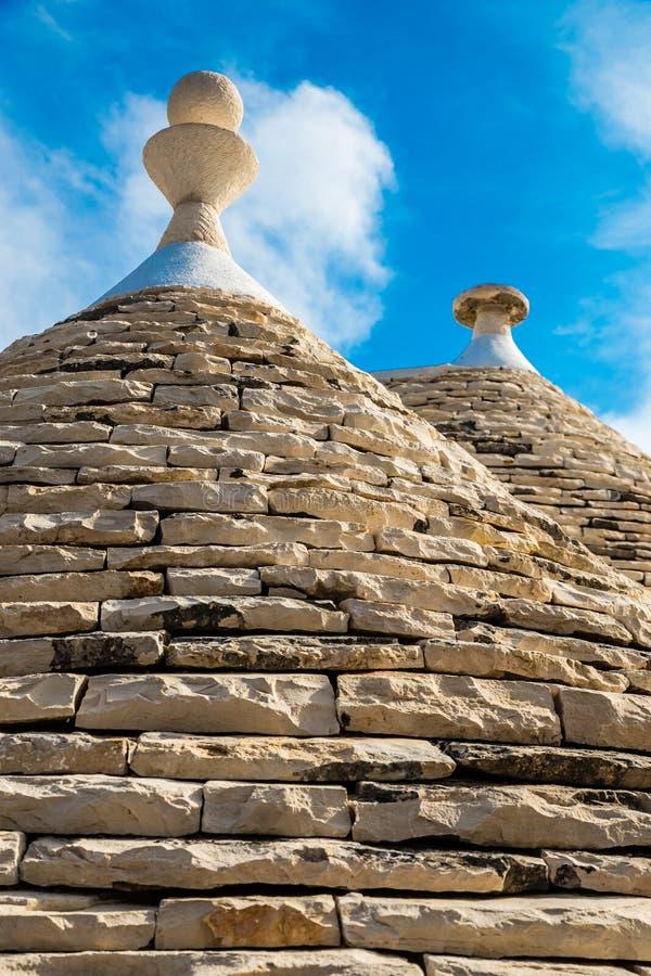 Dach Trulli domy - Alberobello, Apulia, Włochy zdjęcie stock