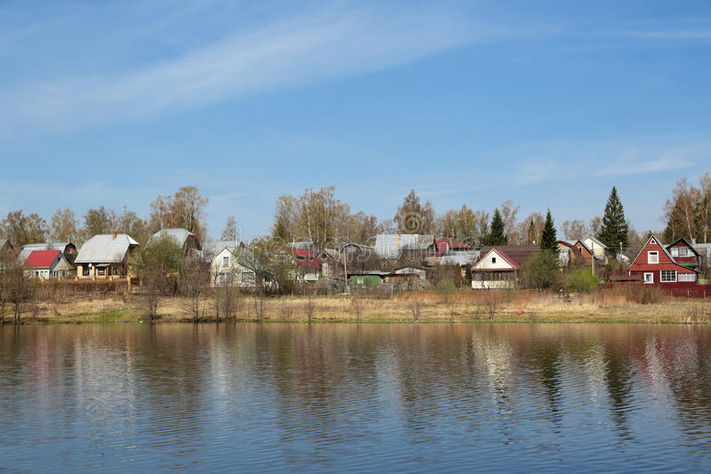 Dacha. Russia, Moscow region, dacha plots on the Bank of the river stock image