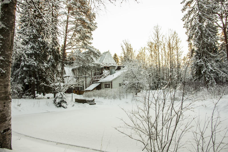 Dacha by Russian painter Ilya Repin. ш in winter royalty free stock images