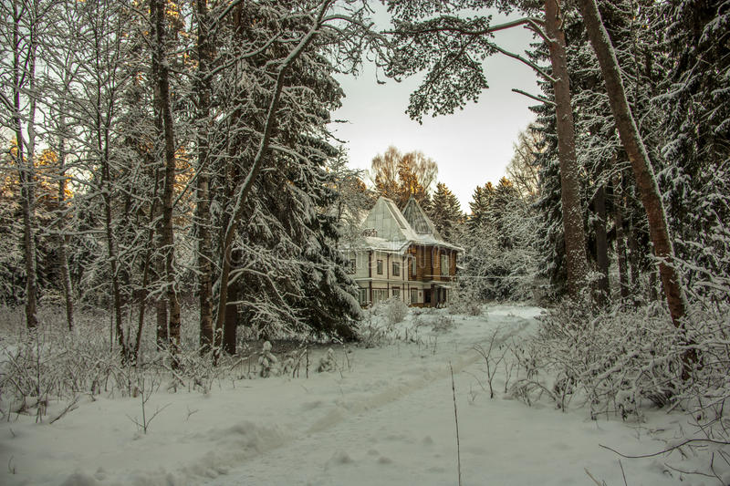 Dacha by Russian painter Ilya Repin. ш in winter royalty free stock photos
