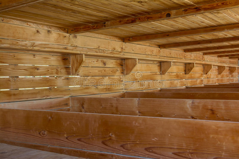Dachau Concentration Camp, wooden beds royalty free stock image