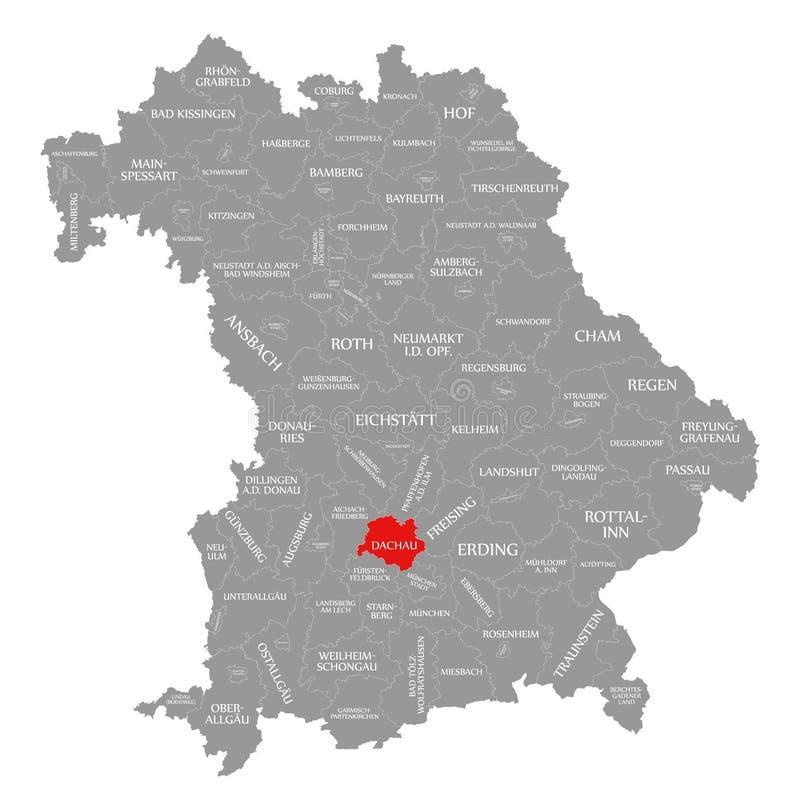 Dachau okręgu administracyjnego czerwień podkreślająca w mapie Bavaria Niemcy ilustracja wektor