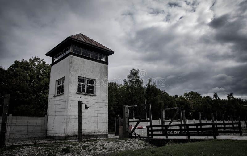 DACHAU, torre de vigia de ALEMANHA Dachau Nazi Concentration Camp imagem de stock royalty free
