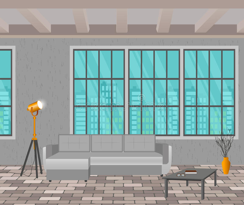 DachbodenKonzept des Entwurfes Wohnzimmerinnenraum in der Hippie-Art mit Fenster, Sofa, Lampen und Ziegelsteinboden vektor abbildung