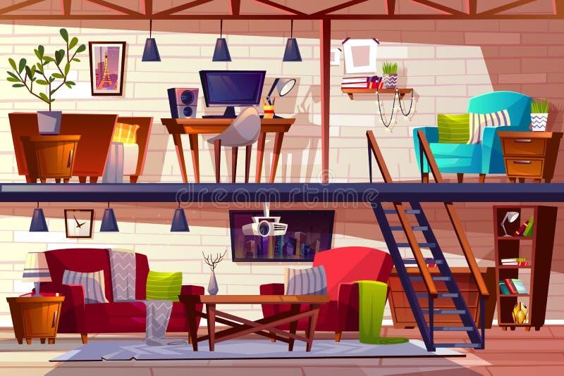 Dachbodenraum- und -schlafzimmerinnenvektorillustration stock abbildung
