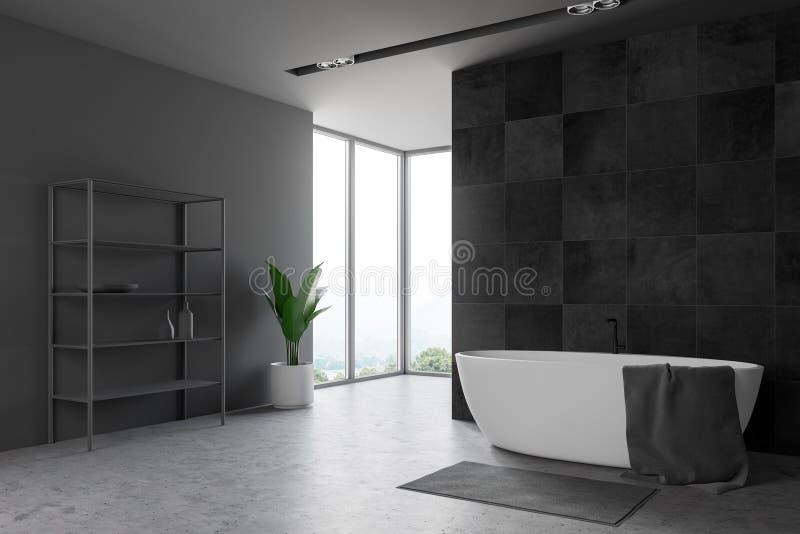 Dachbodenschwarz-Badezimmerecke mit Regalen vektor abbildung