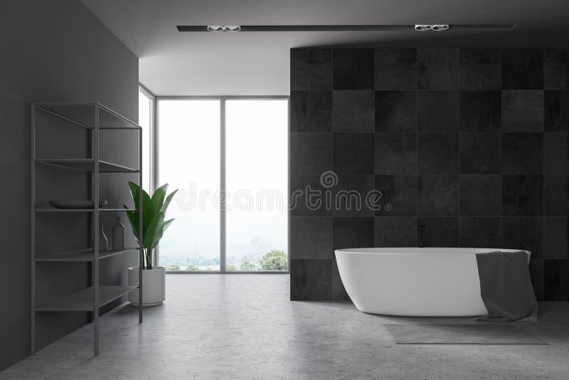 Dachbodenschwarzbadezimmer mit Regalen lizenzfreie abbildung
