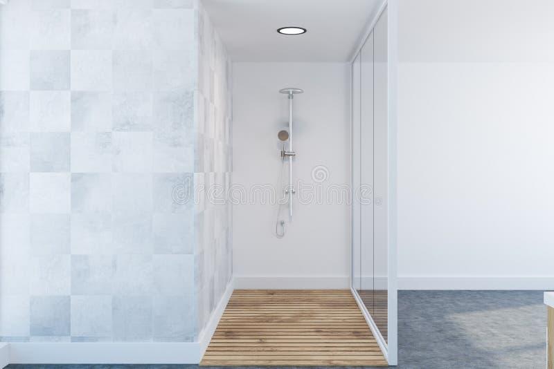 Dachbodenweißer Luxusbadezimmerinnenraum, Dusche stock abbildung