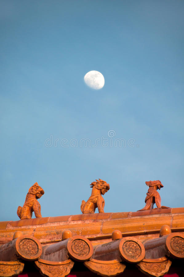 Dachfigürchen in der Verbotenen Stadt, Peking lizenzfreie stockbilder