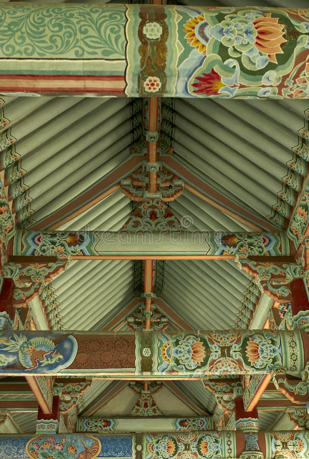 Dachkonstruktion Pohyon-Tempel Nordkorea stockbilder