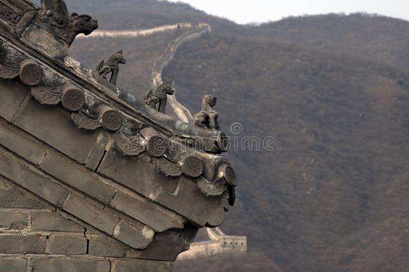 Dachlinie Dekorationen des Turmgebäudes auf Chinesischer Mauer lizenzfreie stockbilder
