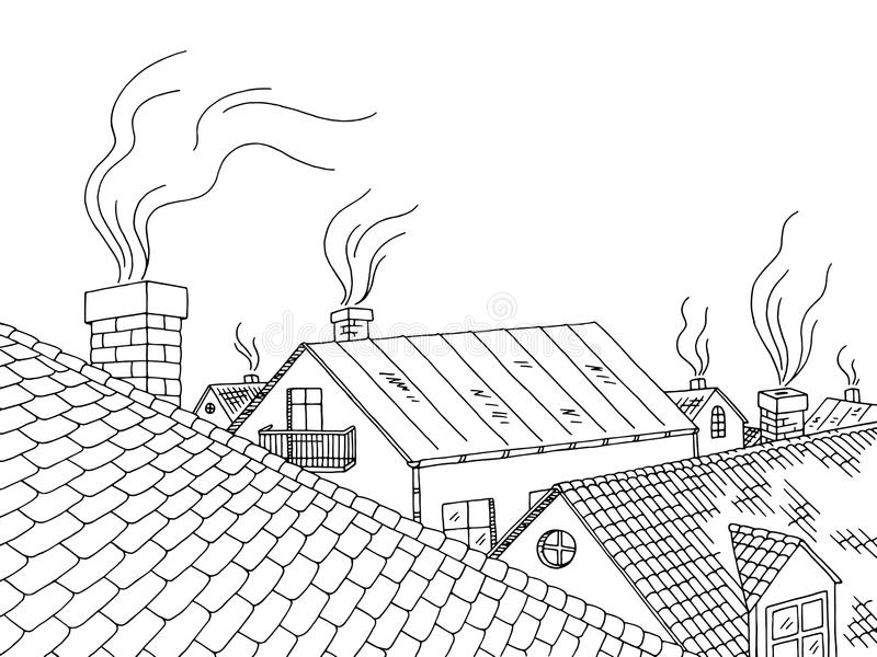 Dachowa graficzna czarna biała miasto krajobrazu nakreślenia ilustracja ilustracji