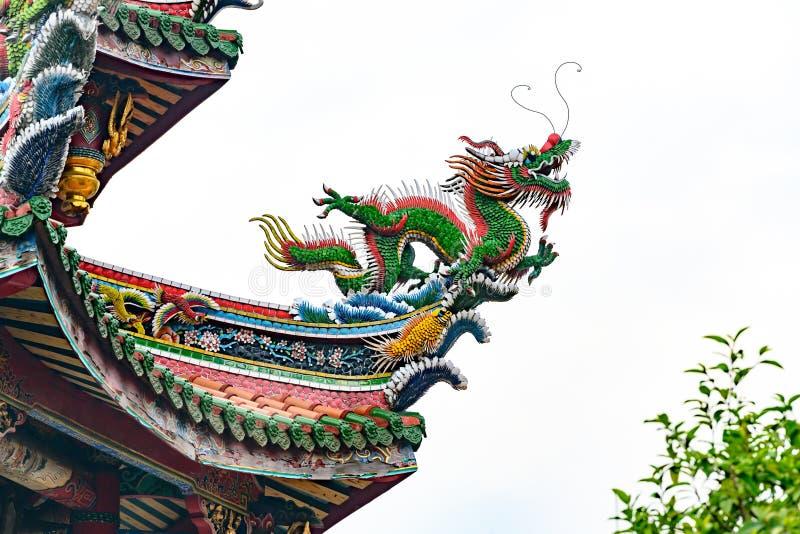 Dachowa grafika, rzeźba smok na Longshan świątyni, Taipei, Tajwan zdjęcie stock