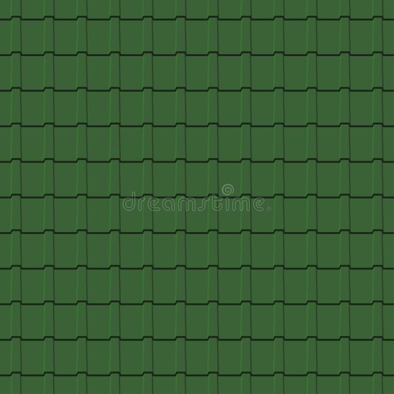 Dachowych płytek bezszwowy wzór Zielony gontów profili/lów tło wektor royalty ilustracja