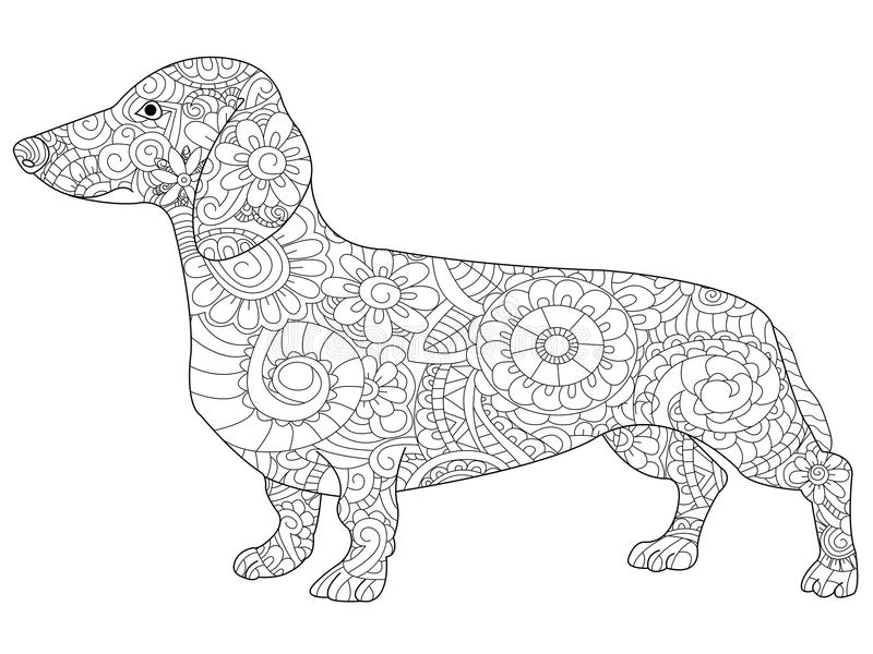 dachshund coloring book adults vector illustration anti stress adult dog zentangle style nature pet black 83210289