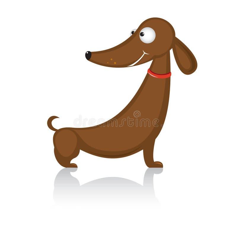 Dachshund divertido de la casta del perro de la historieta ilustración del vector
