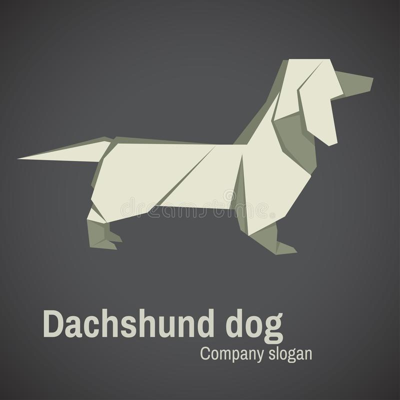 Dachshund dog origami. Origami White Dachshund Dog vector template from grey, symbol of the 2018 Chinese New Year royalty free illustration