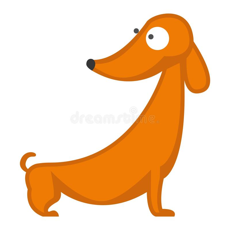 Dachshund dog playing purebred breed, brown puppy canine vector. royalty free illustration
