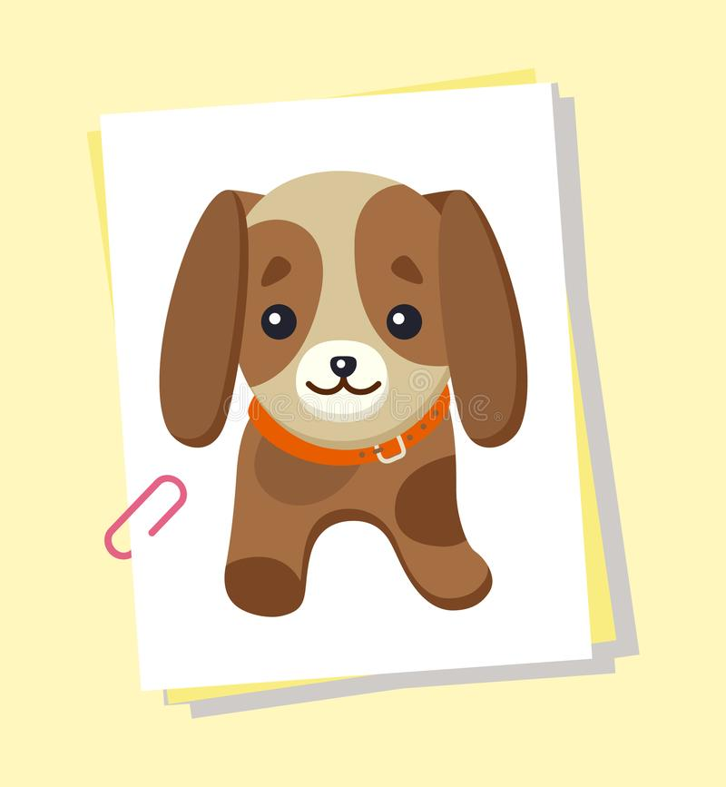 Dachshund Picture Poster, Vector Illustration. Dachshund picture of dog, with long ears, poster with pet, kind expression on face, animal and puppy, vector royalty free illustration