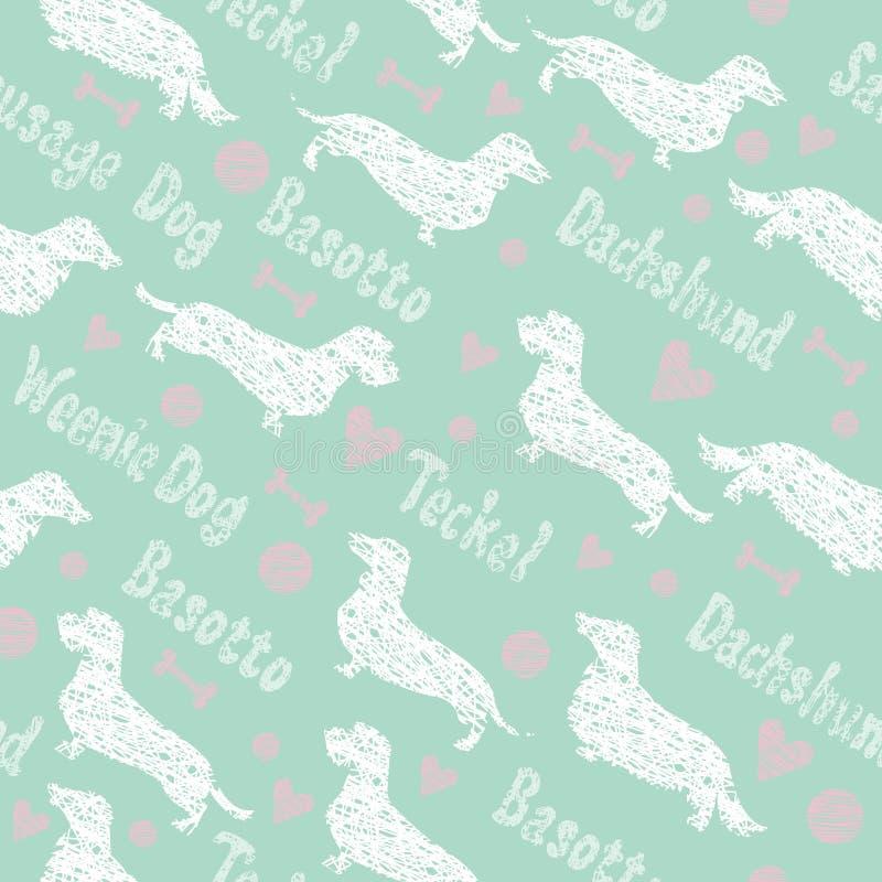 Dachshunds seamless pattern royalty free illustration