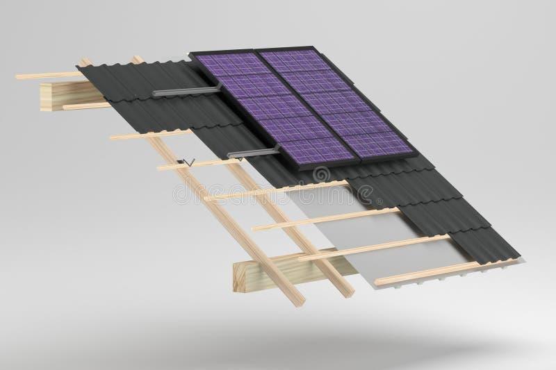 Dachspitze mit pv lizenzfreie stockbilder