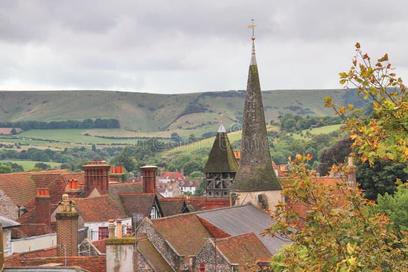 Dachspitzen-Ansicht von Lewes, England lizenzfreie stockbilder