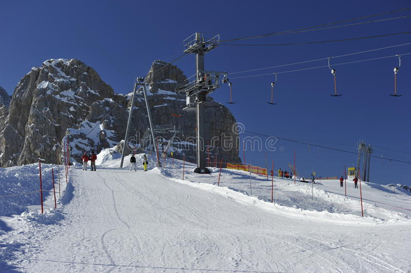 Dachstein Mountain's Skiing Area royalty free stock images