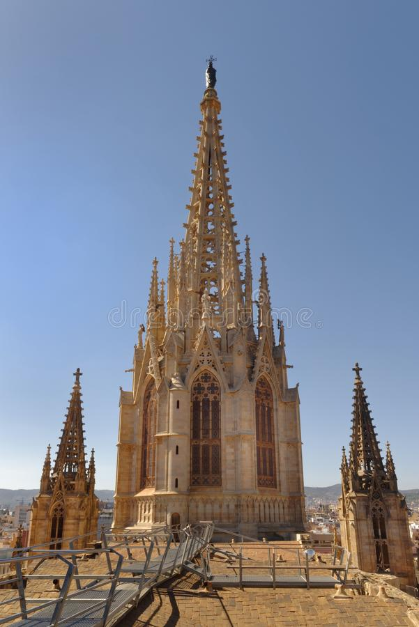 Dachu widok Barcelona katedralna iglica, Spain obraz royalty free