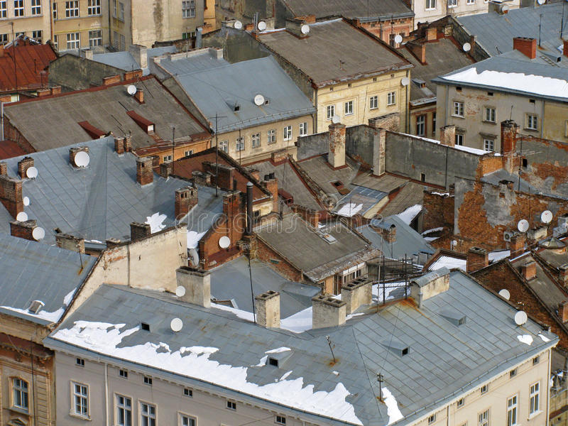 Dachy budynki w Lviv zdjęcie stock