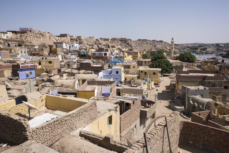 Dachy Nubijska wioska w Aswan zdjęcie stock