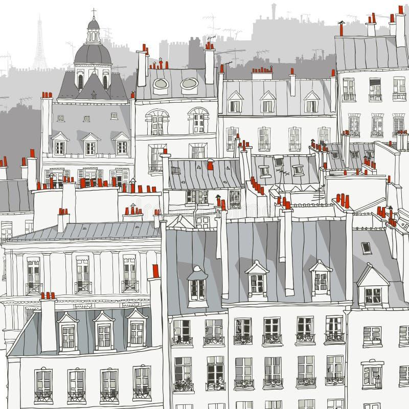 dachy paryża ilustracji