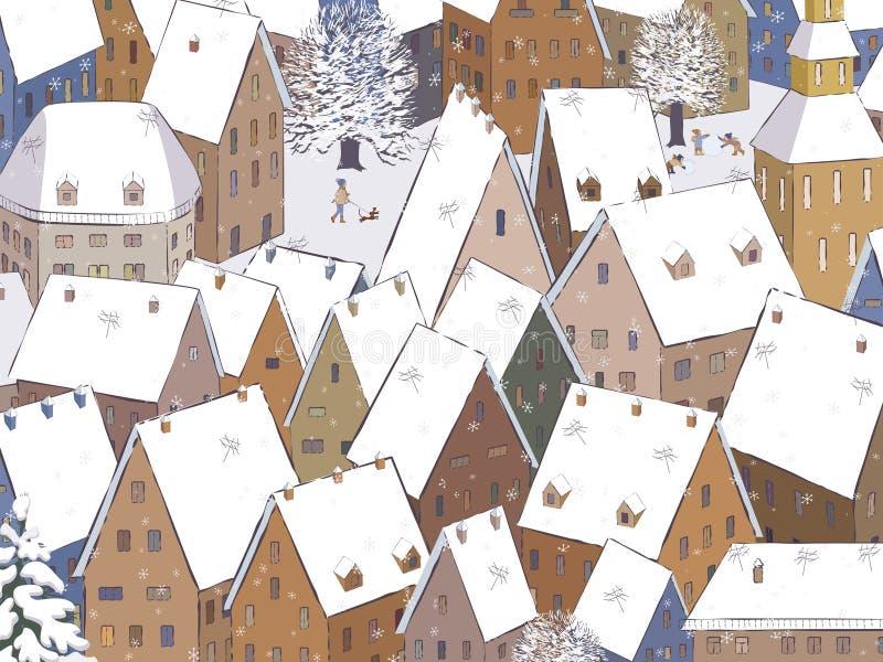 Dachy pod śniegiem ilustracja wektor