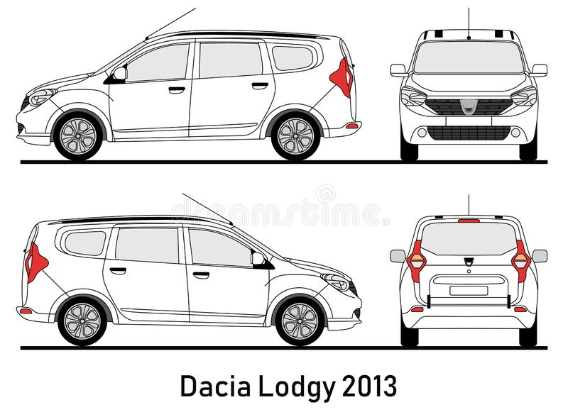 Dacia Lodgy 2013 blueprint illustration stock photos
