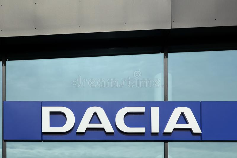 Dacia logo on wall stock image