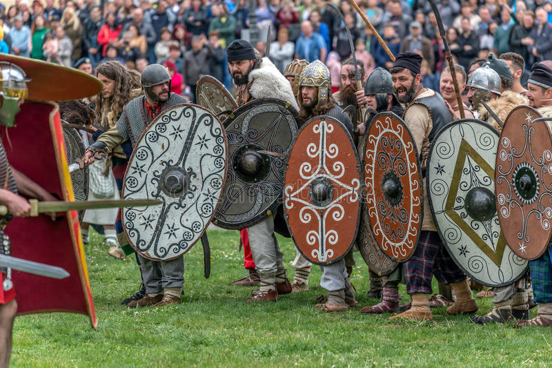 Dacian soldiers making a demonstration of fighting royalty free stock photography