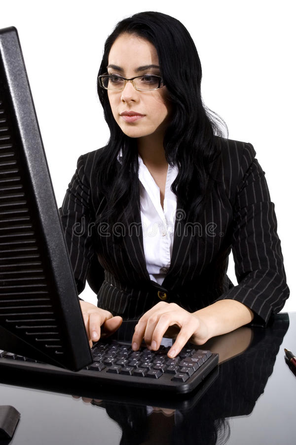 Dactilografia da mulher imagem de stock