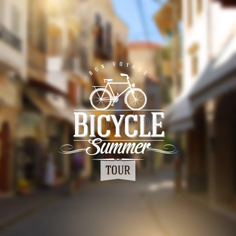 Dactylographiez la conception de vintage avec la bicyclette illustration libre de droits