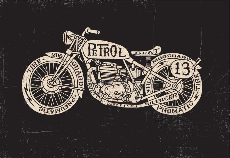 Dactylographiez la moto remplie de vintage illustration de vecteur