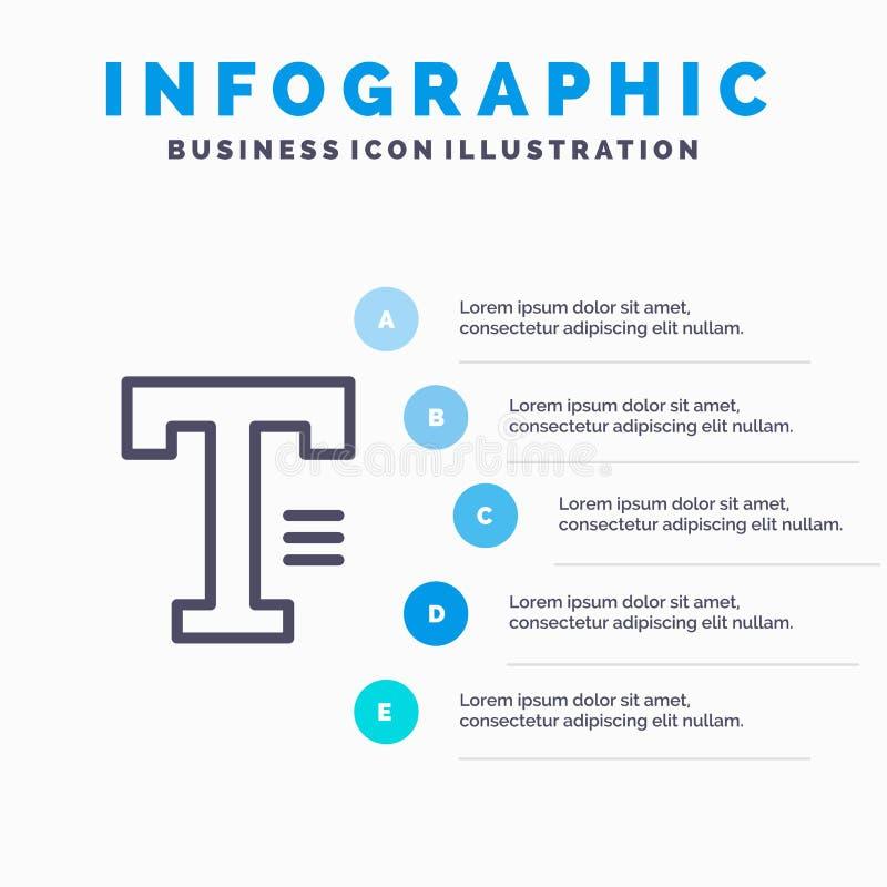Dactylographiez, textotez, écrivez, exprimez la ligne icône avec le fond d'infographics de présentation de 5 étapes illustration stock