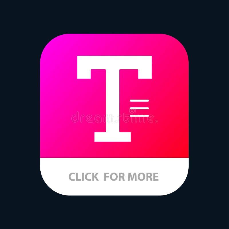 Dactylographiez, textotez, écrivez, exprimez le bouton mobile d'appli Android et version de Glyph d'IOS illustration de vecteur