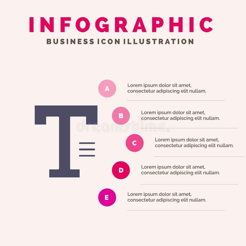 Dactylographiez, textotez, écrivez, exprimez le fond solide de présentation d'étapes d'Infographics 5 d'icône illustration stock
