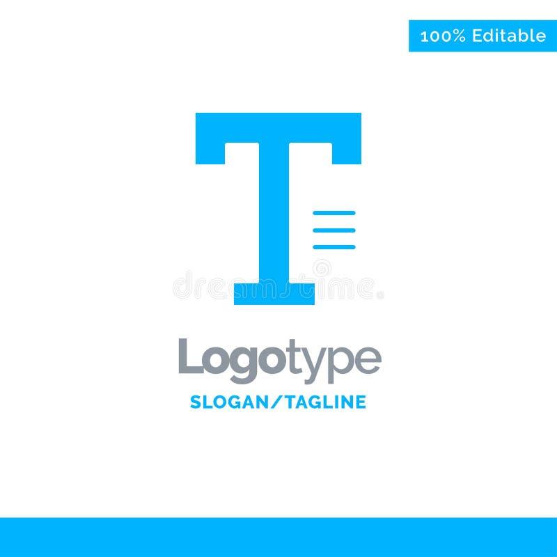 Dactylographiez, textotez, écrivez, exprimez Logo Template solide bleu Endroit pour le Tagline illustration stock